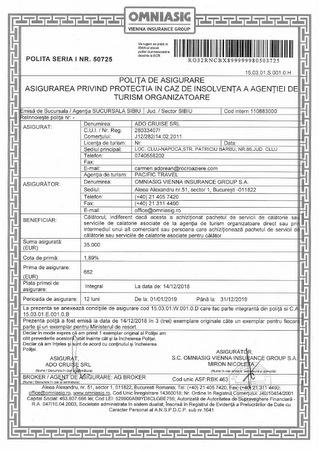 Polita de insolvabilitate Ado Cruise SRL - agentia Pacific Travel - 2017 - 2018
